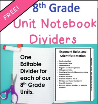 8th Grade Units Notebook Dividers