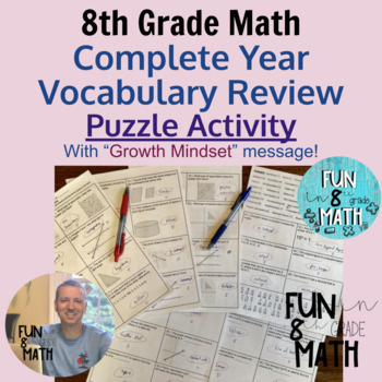 8th Grade Math Vocabulary Complete Year Puzzle Review