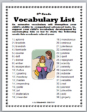 8th Grade Vocabulary List