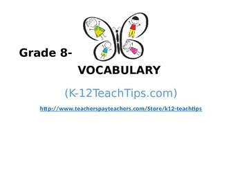 8th Grade Vocabulary (>300) Student Assessment (STAAR/Common Core)