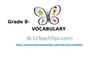 8th Grade Vocabulary (>300) Student Assessment Chart