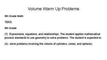 8th Grade Volume Warm Up Question