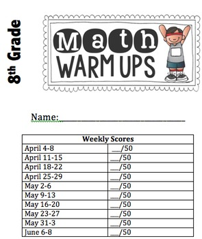 8th Grade Warm Up Problems & Weekly Activity Page