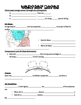8th Grade Weather Unit Note Page