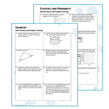 8th Grade WINTER / December MATH PACKET - { COMMON CORE Assessment }