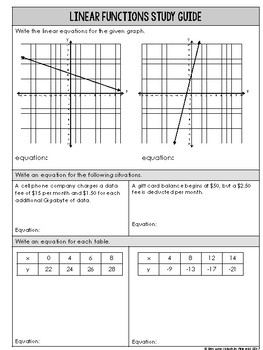 8th Grade Writing Linear Functions Assessment for 8.F.B.4 standard Go Math