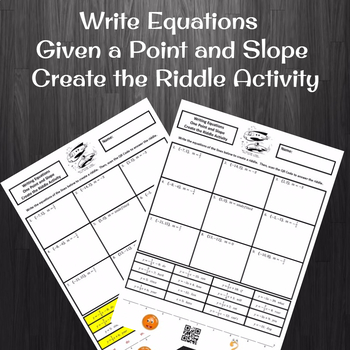 8th Grade:  Writing the Equation from Slope and a Point Create a Riddle Activity
