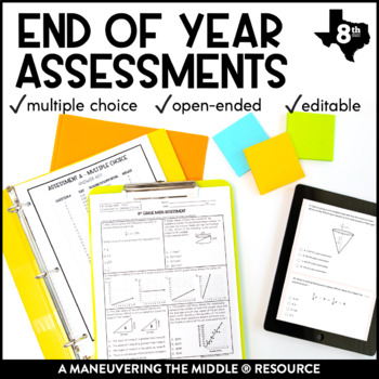 8th Grade Math Year-End Assessments: TEKS by Maneuvering the