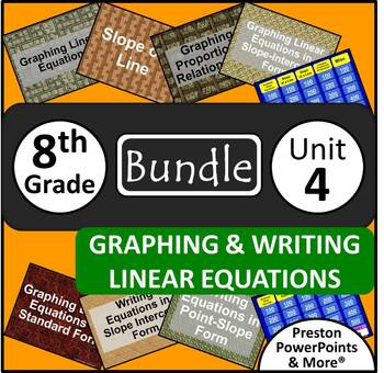 (8th) Graphing & Writing Linear Equations {Bundle} in a Po