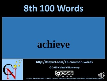 8th Hundred Words with Audio - 1,000 Word Fluency Program (Free)