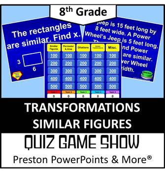 (8th) Quiz Show Game Transformations Similar Figures in a PowerPoint