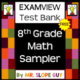 8th Grade Math Question Test Bank Review Sampler BNK PreAlgebra for ExamView