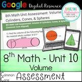 8th Math Google Quiz (Common Core)- Volume of Cones, Cylinders, & Spheres