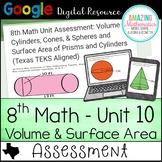 8th Math Google Quiz (Texas TEKS)- Volume & Surface Area