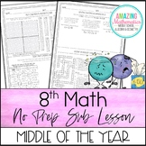 8th Math No Prep Sub Lesson / Substitute Teacher Activity - Middle of The Year