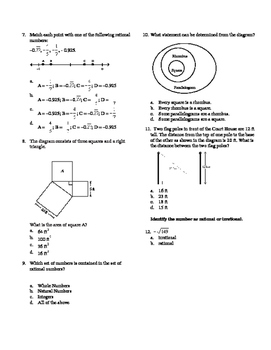 8th Math Pythagorean and Rational Numbers Assessment On Level (non-editable)