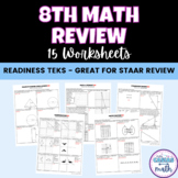 8th Math Readiness TEKS STAAR Review 15 Worksheets