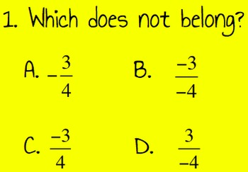 8th Math Review: Which Does Not Belong?