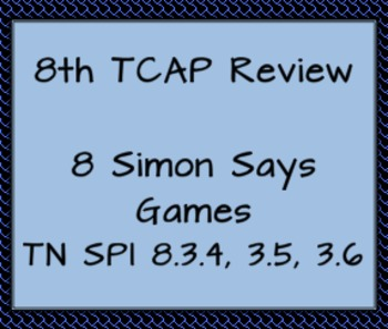 8th Math TCAP Review TN SPIs 3.4, 3.5,3.6 Simon Says Games