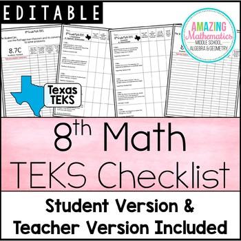 "8th Math TEKS Checklist - ""I Can"""