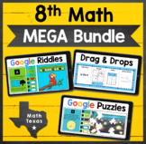 8th Math TEKS ✩ STAAR Test Prep ✩ Digital MEGA Bundle