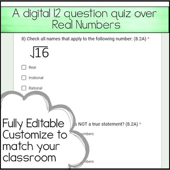 8th Math Unit 1 Google Quiz The Real Numbers By Amazing Mathematics