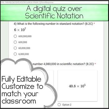 8th Math Unit 2 Google Quiz - Scientific Notation