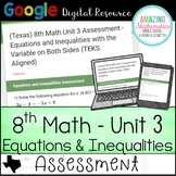 8th Math Unit 3 Google Quiz (Texas Edition)- Equations and Inequalities