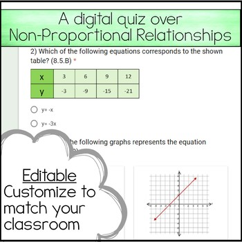 8th Math Unit 5 Google Quiz - Non Proportional Relationships