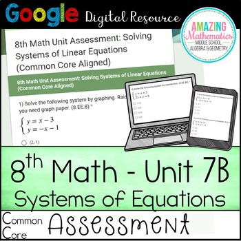 8th Math Unit 7B Google Quiz (Common Core Only)- Systems of Equations