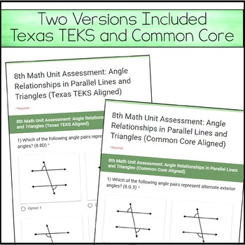 8th Math Unit 8 Google Quiz - Angle Relationships in Parallel Lines & Triangles