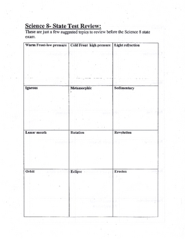 8th NYS Grade Physical & life Science Review Sheet