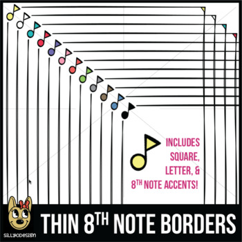 8th Note Music Note Borders (Letter, Square, & Clip Art Accents)