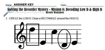 "8th Recorder Lesson - Mystery Series ""Decoding Low D & High D"" Vid Worksheet etc"