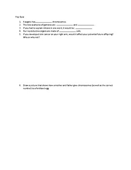 8th Reproduction Basics Pop Quiz