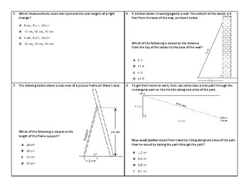 8th STAAR Pythagorean Theorem Review (Part 1 Only)