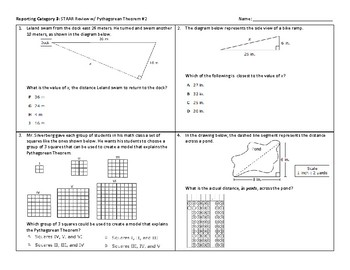 8th STAAR Pythagorean Theorem Review (Complete w/ Answer Key)