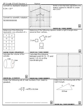 8th Grade Math Staar Test 2019 Answer Key