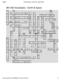 8th Grade Science SSA Vocabulary Crossword Puzzle - Earth & Space (Key)
