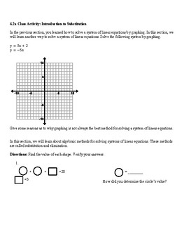 8th Solve Simultaneous Linear Equations Algebraically