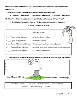 8th grade Climate Test- 4 test bundle above level to basic