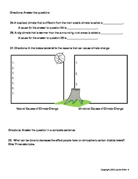 8th grade Climate Test- At and Above level
