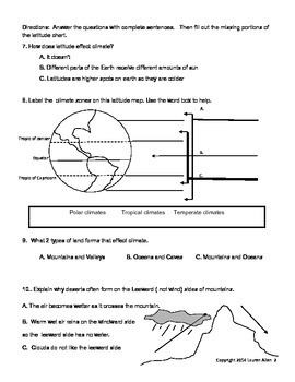 8th grade Climate Test-  below level to basic