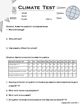 8th grade Climate Test- low level to below