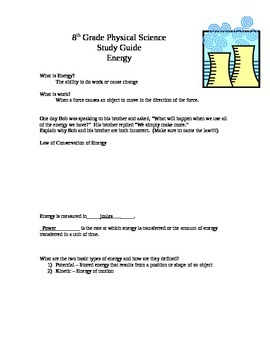 8th grade energy study guide answer key by the science ward tpt rh teacherspayteachers com 8th grade science study guide quiz 8th grade science study guide quiz