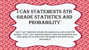 "8th grade ""I Can"" Statements Statistics & Probability"