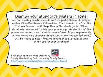 8th grade Indiana ELA standards posters chevrons