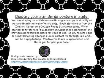 8th grade Indiana ELA standards posters diamonds