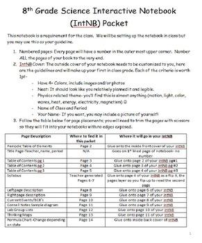 8th grade Interactive Notebook Setup Combo- Class and Lab Notebook Setups!