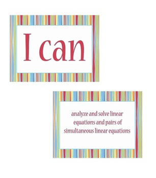 """8th grade """"I Can Statements"""" Math Standard Posters"""